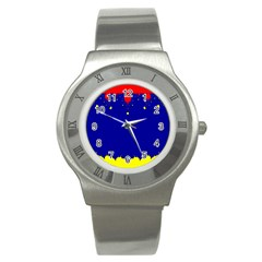 Critical Points Line Circle Red Blue Yellow Stainless Steel Watch