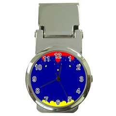 Critical Points Line Circle Red Blue Yellow Money Clip Watches