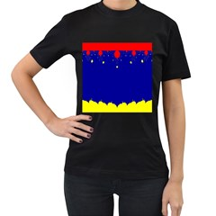 Critical Points Line Circle Red Blue Yellow Women s T-Shirt (Black)
