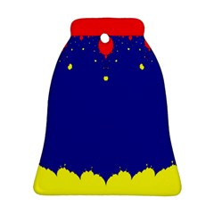 Critical Points Line Circle Red Blue Yellow Bell Ornament (Two Sides)