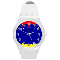 Critical Points Line Circle Red Blue Yellow Round Plastic Sport Watch (M)