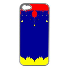 Critical Points Line Circle Red Blue Yellow Apple iPhone 5 Case (Silver)
