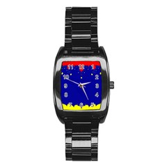 Critical Points Line Circle Red Blue Yellow Stainless Steel Barrel Watch