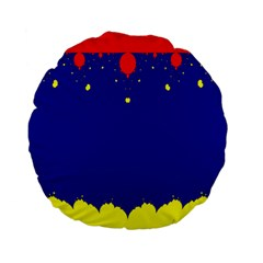 Critical Points Line Circle Red Blue Yellow Standard 15  Premium Flano Round Cushions