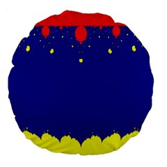 Critical Points Line Circle Red Blue Yellow Large 18  Premium Flano Round Cushions