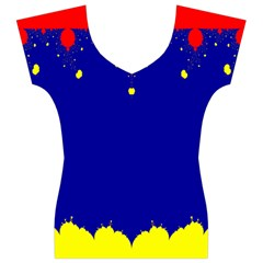 Critical Points Line Circle Red Blue Yellow Women s V-Neck Cap Sleeve Top