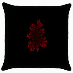 Dendron Diffusion Aggregation Flower Floral Leaf Red Black Throw Pillow Case (Black)