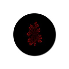 Dendron Diffusion Aggregation Flower Floral Leaf Red Black Rubber Round Coaster (4 pack)