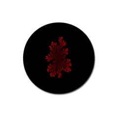 Dendron Diffusion Aggregation Flower Floral Leaf Red Black Magnet 3  (Round)