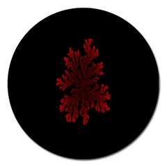 Dendron Diffusion Aggregation Flower Floral Leaf Red Black Magnet 5  (Round)