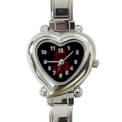 Dendron Diffusion Aggregation Flower Floral Leaf Red Black Heart Italian Charm Watch