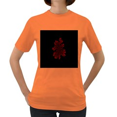 Dendron Diffusion Aggregation Flower Floral Leaf Red Black Women s Dark T-Shirt