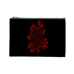 Dendron Diffusion Aggregation Flower Floral Leaf Red Black Cosmetic Bag (Large)