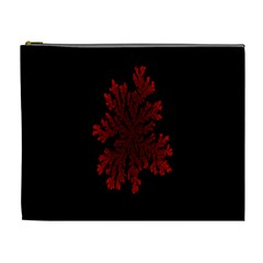 Dendron Diffusion Aggregation Flower Floral Leaf Red Black Cosmetic Bag (XL)