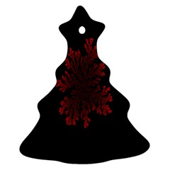 Dendron Diffusion Aggregation Flower Floral Leaf Red Black Ornament (christmas Tree)
