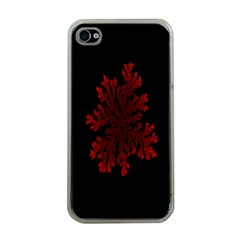 Dendron Diffusion Aggregation Flower Floral Leaf Red Black Apple iPhone 4 Case (Clear)