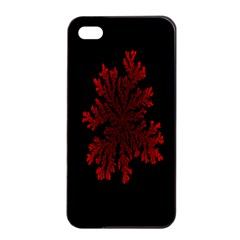 Dendron Diffusion Aggregation Flower Floral Leaf Red Black Apple iPhone 4/4s Seamless Case (Black)