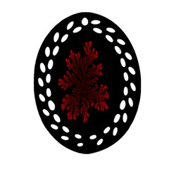 Dendron Diffusion Aggregation Flower Floral Leaf Red Black Oval Filigree Ornament (Two Sides)