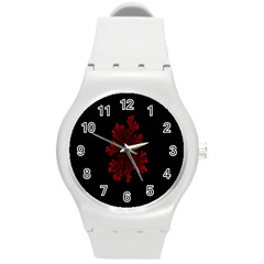 Dendron Diffusion Aggregation Flower Floral Leaf Red Black Round Plastic Sport Watch (M)