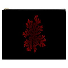 Dendron Diffusion Aggregation Flower Floral Leaf Red Black Cosmetic Bag (XXXL)