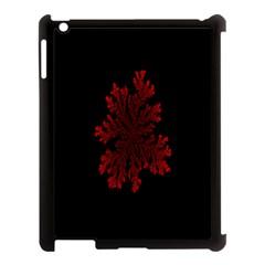 Dendron Diffusion Aggregation Flower Floral Leaf Red Black Apple iPad 3/4 Case (Black)