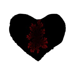 Dendron Diffusion Aggregation Flower Floral Leaf Red Black Standard 16  Premium Heart Shape Cushions