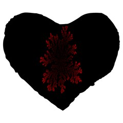 Dendron Diffusion Aggregation Flower Floral Leaf Red Black Large 19  Premium Heart Shape Cushions
