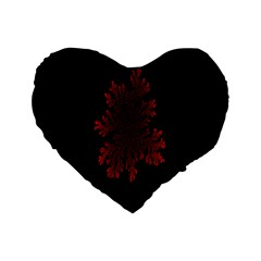 Dendron Diffusion Aggregation Flower Floral Leaf Red Black Standard 16  Premium Flano Heart Shape Cushions