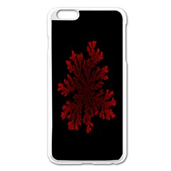 Dendron Diffusion Aggregation Flower Floral Leaf Red Black Apple iPhone 6 Plus/6S Plus Enamel White Case