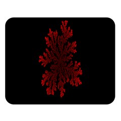 Dendron Diffusion Aggregation Flower Floral Leaf Red Black Double Sided Flano Blanket (Large)