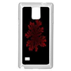 Dendron Diffusion Aggregation Flower Floral Leaf Red Black Samsung Galaxy Note 4 Case (White)