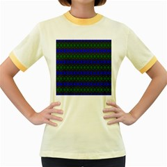 Diamond Alt Blue Green Woven Fabric Women s Fitted Ringer T-Shirts