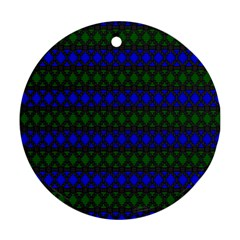 Diamond Alt Blue Green Woven Fabric Round Ornament (Two Sides)