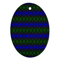 Diamond Alt Blue Green Woven Fabric Oval Ornament (Two Sides)