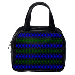 Diamond Alt Blue Green Woven Fabric Classic Handbags (One Side)