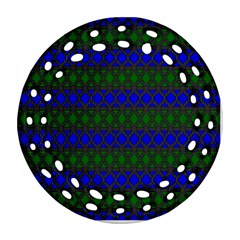 Diamond Alt Blue Green Woven Fabric Round Filigree Ornament (Two Sides)