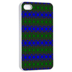 Diamond Alt Blue Green Woven Fabric Apple iPhone 4/4s Seamless Case (White)