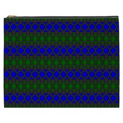 Diamond Alt Blue Green Woven Fabric Cosmetic Bag (XXXL)