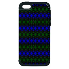 Diamond Alt Blue Green Woven Fabric Apple Iphone 5 Hardshell Case (pc+silicone)