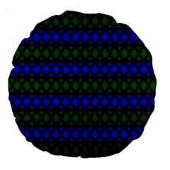 Diamond Alt Blue Green Woven Fabric Large 18  Premium Round Cushions
