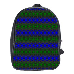 Diamond Alt Blue Green Woven Fabric School Bags (XL)