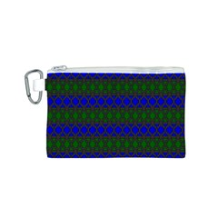 Diamond Alt Blue Green Woven Fabric Canvas Cosmetic Bag (S)