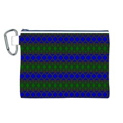 Diamond Alt Blue Green Woven Fabric Canvas Cosmetic Bag (L)