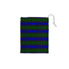 Diamond Alt Blue Green Woven Fabric Drawstring Pouches (XS)