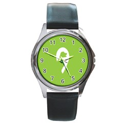 Dog Green White Animals Round Metal Watch