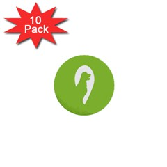 Dog Green White Animals 1  Mini Buttons (10 pack)