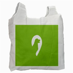 Dog Green White Animals Recycle Bag (Two Side)