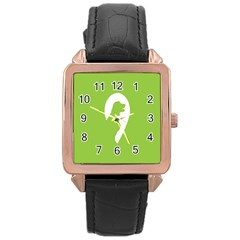 Dog Green White Animals Rose Gold Leather Watch