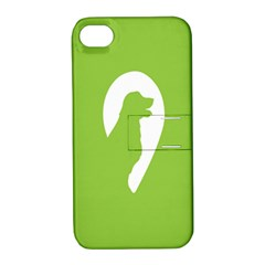 Dog Green White Animals Apple iPhone 4/4S Hardshell Case with Stand