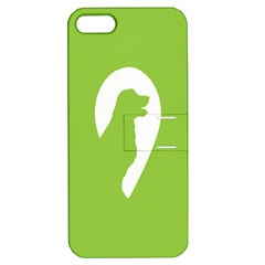 Dog Green White Animals Apple iPhone 5 Hardshell Case with Stand